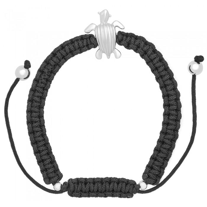Sterling silver .925 leatherback sea-turtle (tinglar) on adjustable macramé bracelet