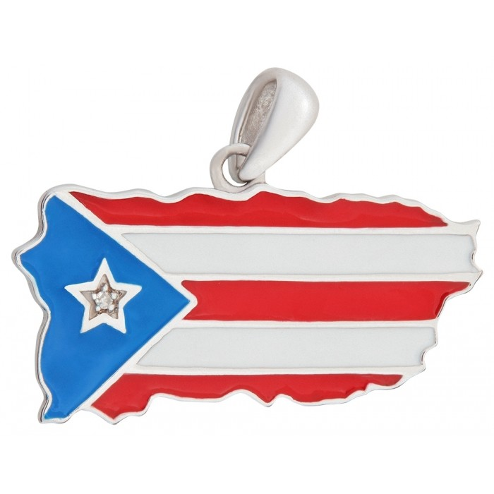 Sterling Silver .925 and Enamel Puerto Rico Flag/Map Pendant with diamond star