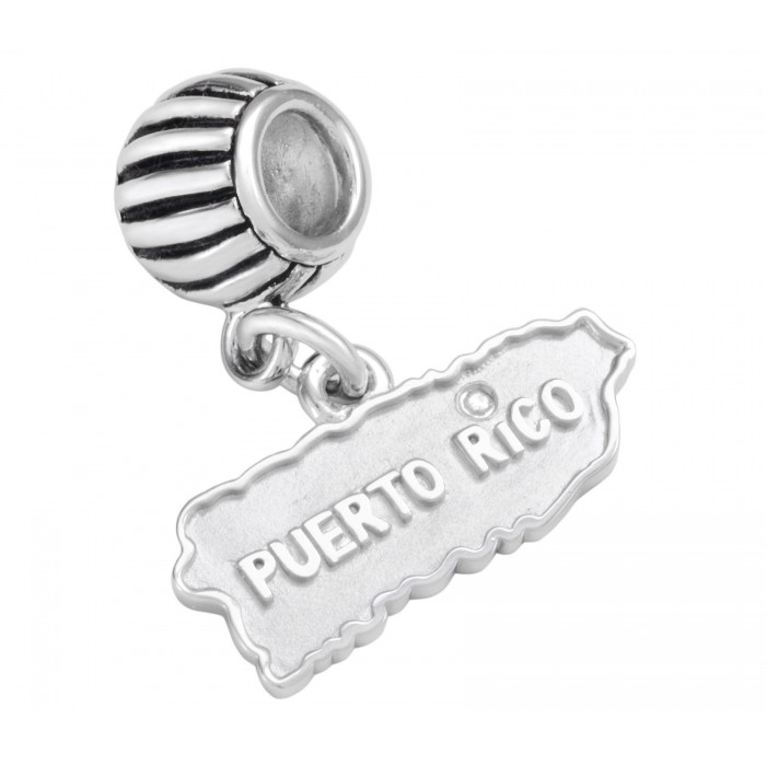 """Solid Sterling Silver .925 Puerto Rico Map Roundel Charm with Diamond Detail over the """"i"""""""