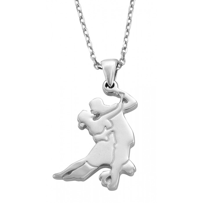 Solid Sterling Silver .925 Salsa Dancers Pendant and Chain