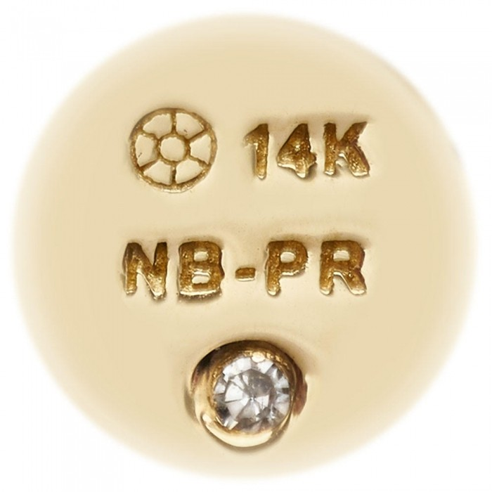 Certified and hallmark stamped 14K Solid Yellow Gold with inlaid signature diamond