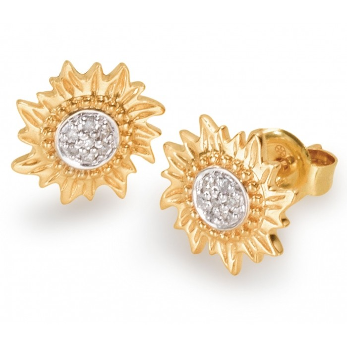 14K Gold Stud Earrings in a Sun Design with Diamonds at the center