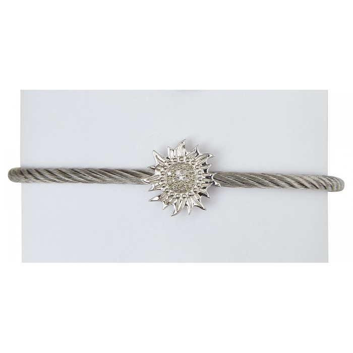 Silver finish stainless steel cable bracelet with a sterling silver .925 sun with diamond detail.