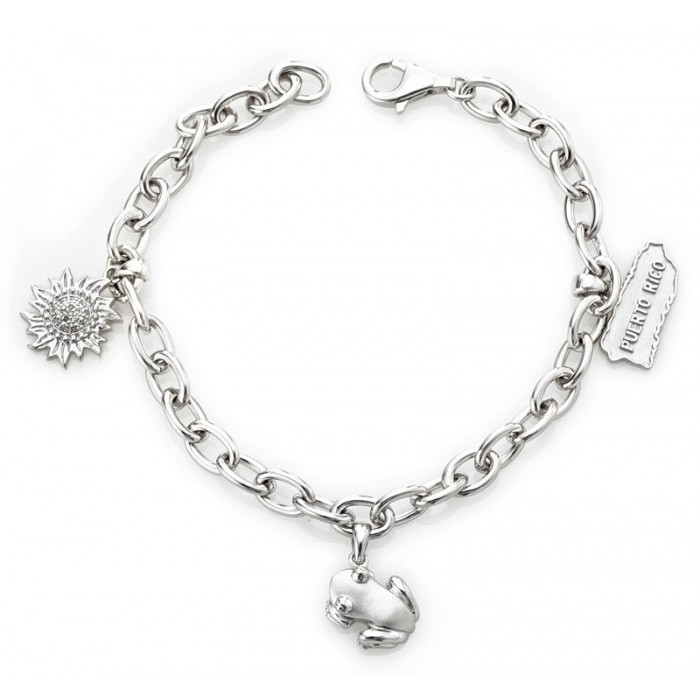 Solid Sterling Silver .925 Link Charm Bracelet w/ Designer Sun, Coquí, and Puerto Rico Map Charms