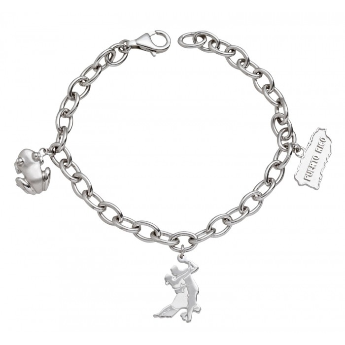 Solid Sterling Silver .925 Link Charm Bracelet w/Designer Salsa Dancers, Coquí, and Puerto Rico Map Charms