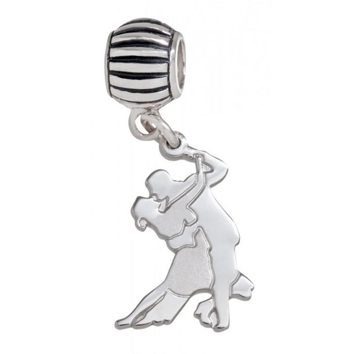 Solid Sterling Silver .925 Salsa Dancers Roundel Charm