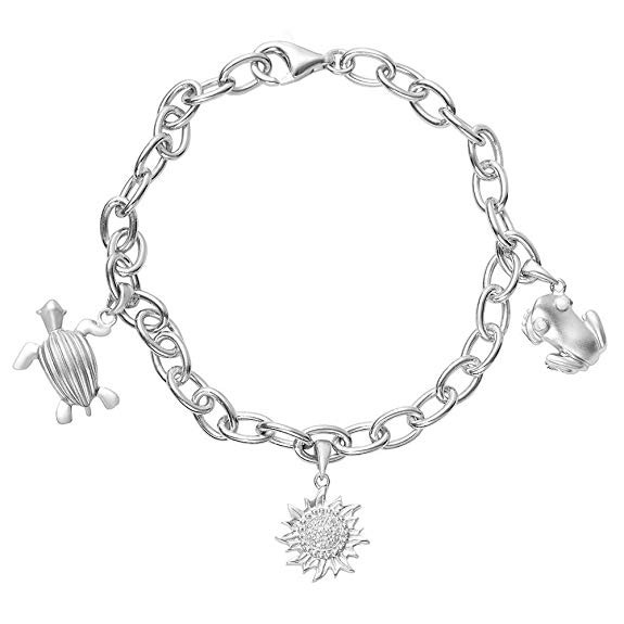 Sterling Silver .925 Nature Bracelet with Coquí, Sun, and Leatherback Sea Turtle (Tinglar) Charms