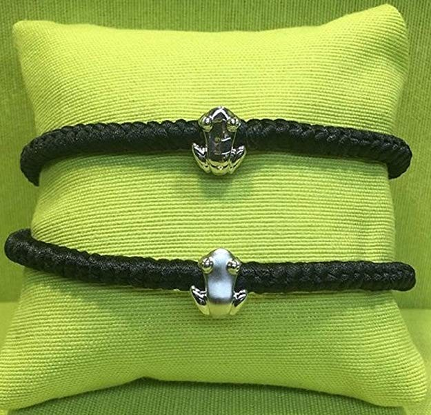 2 black silk cord macramé bracelets w/ Reversible .925 sterling silver Coquí Charms in matte and high polish finish