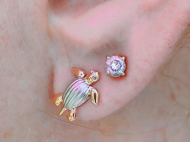 Ear wearing 2-Tone 14K Gold & Sterling Silver .925 Leatherback Sea Turtle Stud with Diamond Eyes