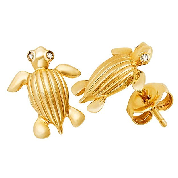 Solid 14k gold leatherback sea turtle (tinglar) stud earrings with diamond eyes