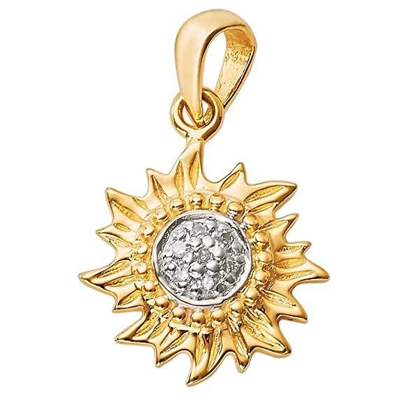 Solid 14K gold large sun pendant with diamond center