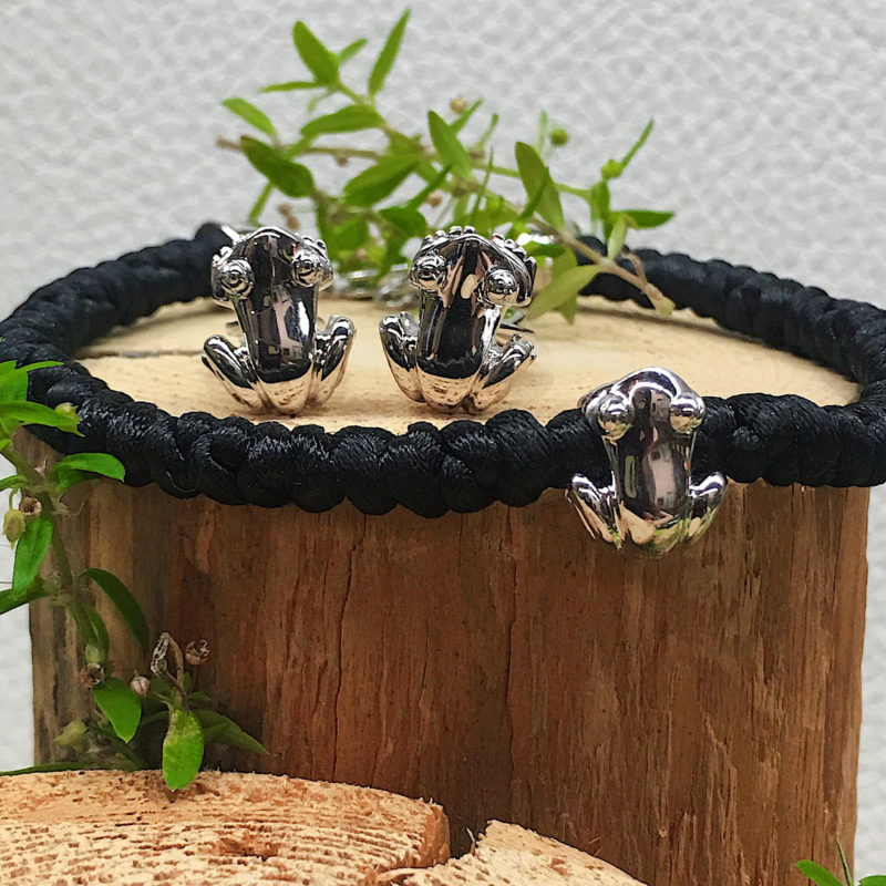 Men's Bracelet w/ Reversible Coquí Bead Solid Sterling Silver .925 One side Matte and Other side High Polish Finish