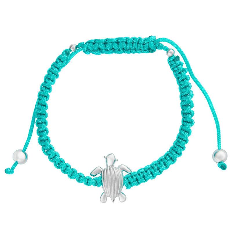 Leatherback Sea-turtle (Tinglar) on Adjustable Macramé Bracelet Solid Sterling Silver .925
