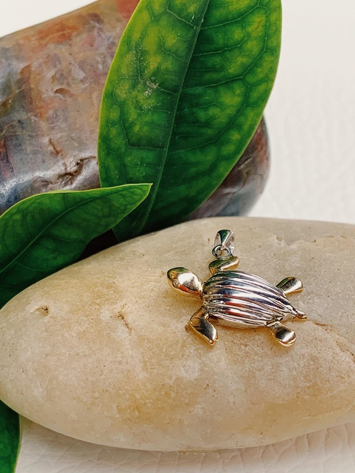 Leatherback Sea-turtle (Tinglar) Two-tone Pendant Solid 14K Gold and Solid Sterling Silver .925 with Diamond Eyes