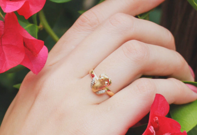 Coquí Solid 14K Yellow Gold Ring with Diamond Legs and Diamond Eyes