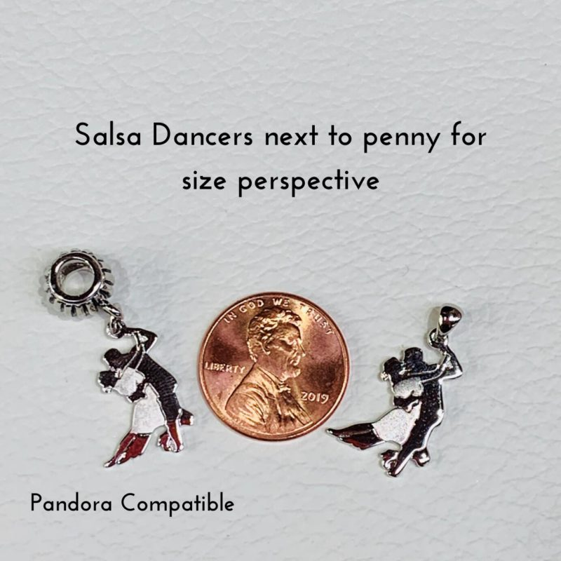 Salsa Dancers Pendant and Chain Solid Sterling Silver .925