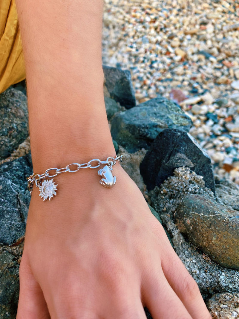 """Nature Bracelet with Coquí, Sun, and Leatherback Sea-turtle Charms Sterling Silver .925, 8"""" long"""