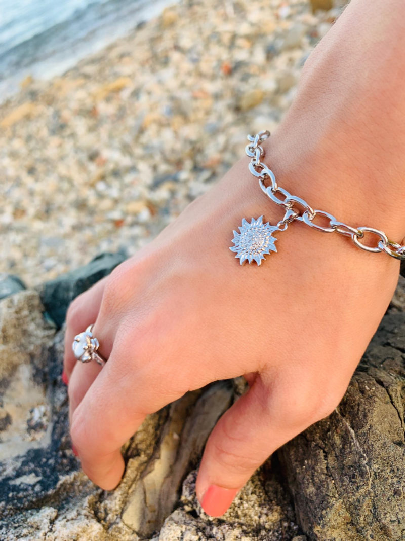 Sun with Diamond Cluster Link Charm Bracelet Solid Sterling Silver .925
