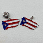 Puerto Rico Flag/Map Pendant with Diamond Star Sterling Silver .925 and Enamel