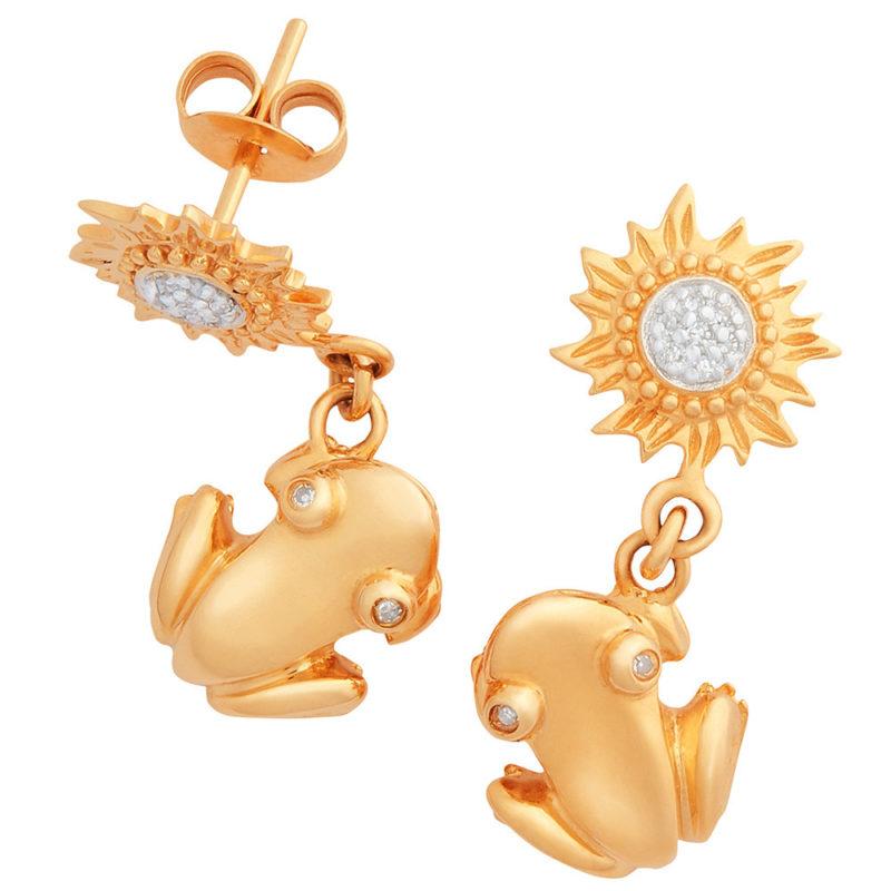 Sun-Coquí Drop Earrings Solid 14K Gold with Diamond Eyes and Diamond Center Suns