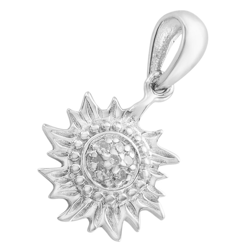 Small Sun Solid Sterling Silver .925 with Diamonds