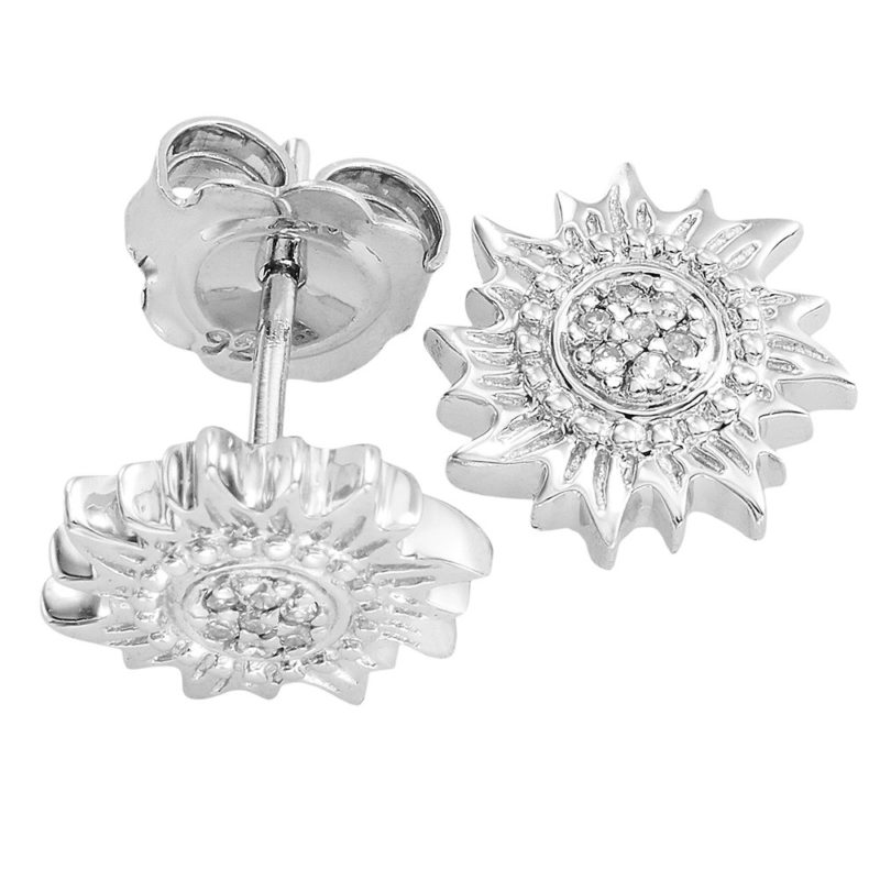 Sun Stud Earrings Solid Sterling Silver .925 and Diamonds