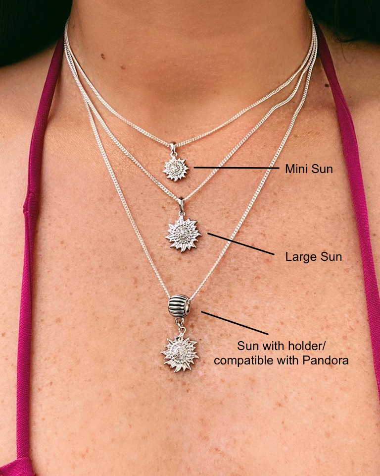 Sun Solid Sterling Silver .925 Pendant with Diamonds
