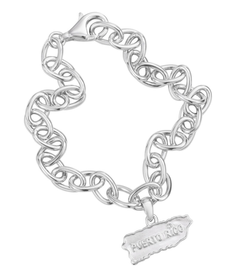 """Puerto Rico Map Link Charm Bracelet Solid Sterling Silver .925 and Diamond over """"i"""", 8"""" long"""