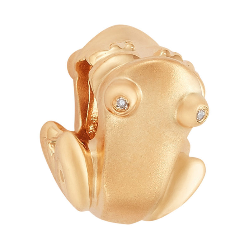 Reversible Solid 14K Gold Coquí Charm/Pendant with Diamond Eyes